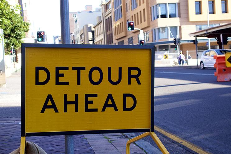 Detour Ahead sign, Newcastle, Australia